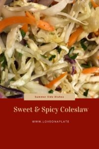 Image of coleslaw closeup with text box for title made for pinterest