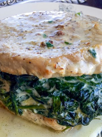 Pork Chops Stuffed with Creamed Spinach