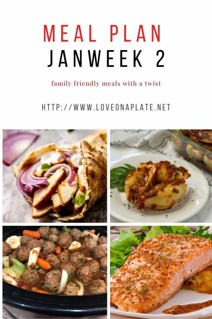 Jan week 2 meal plan collage featuring 4 different meals