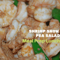 Cooked Jumbo Shrimp with sliced snow peas