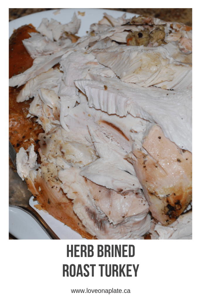 Carved slices of Turkey breast and thigh on a white platter.