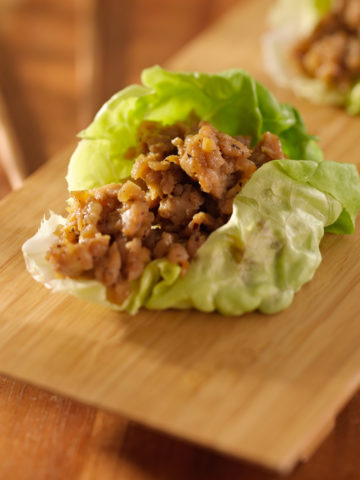 Ground Chicken stir fry with hoisin sauce in a lettuce wrap