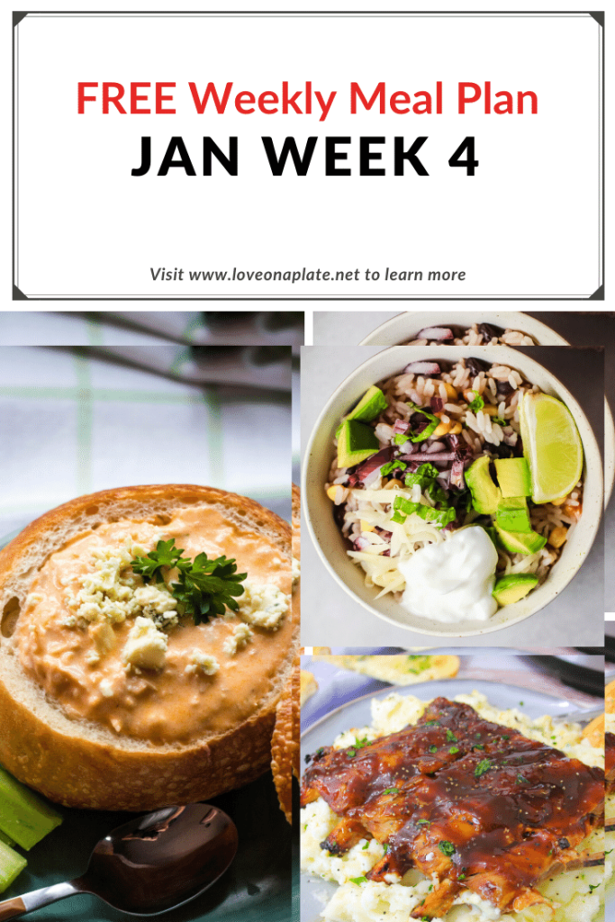 Pin featuring recipes from week 4 meal plan.  Buffalo Chicken, Thin Crust Pizza, Chili, Tex Mex Burrito Bowls